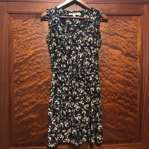 LC Lauren Conrad black/cream bird print dress sz 2